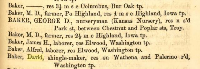 Kansas, Donipahn County, Wathena, Baker Family, Early Settlers