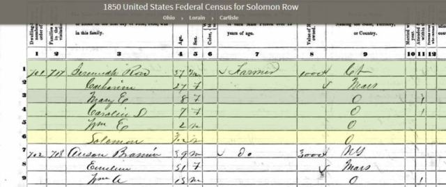 3rd great grandfather, Rowe Family, Genealogy, census
