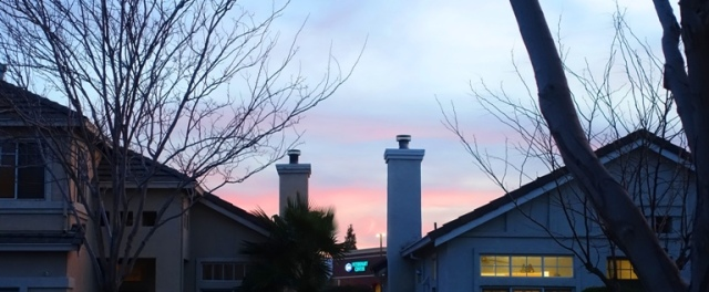 pink sky, south rooftops