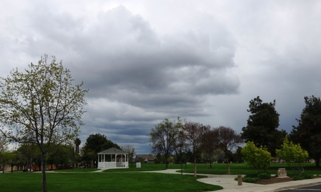 California winter, rain clouds, gazebo
