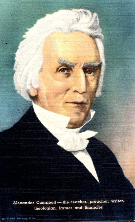 Alexander Campbell, Restoration Movement, postcards, linen era, Bethany West Virginia
