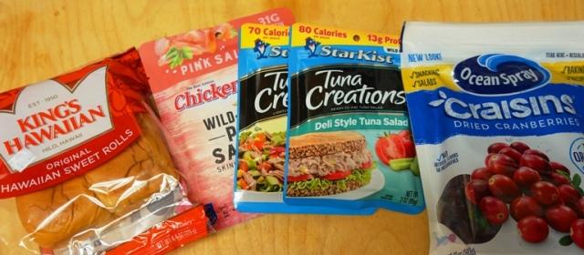 tuna, salmon, hawaiian rolls, craisins