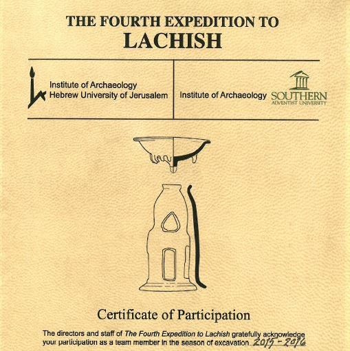Archaeology, certificate, dig, israel, lachish