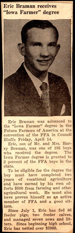iowa farmer, FFA, Braman, Hamburg Iowa, Council Bluffs