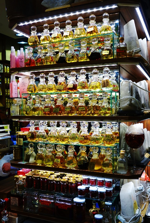 turkish shop, oils, bottles