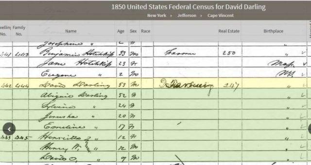 darling, hotchkiss, cape vincent, new york, genealogy, census 1850