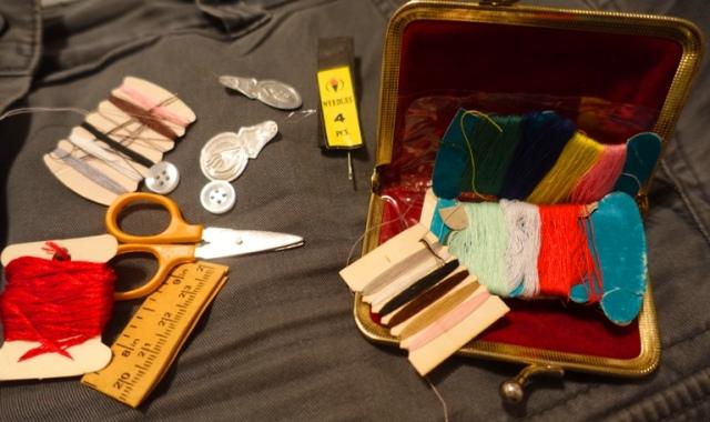 sewing kit, purse, repairs, needle,  thread, sissors, measuring tape