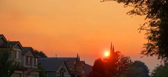 smoky sunset, california, wildfires.