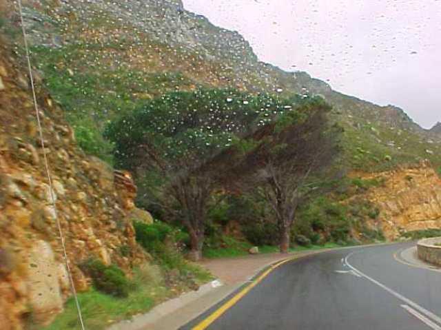 South Africa Coast, hills, highway, rain