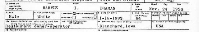 Harvie Braman, death certificate, council bluffs, Jennie Edmunson, restaurant owner