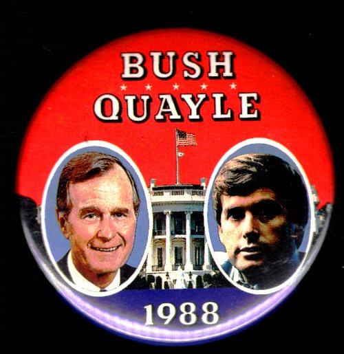Bush Quayle Campaign Button, 1988, Presedential Election