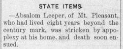 absalom leeper, mt. pleasant, 108 years old