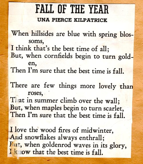 una pierce kilpatrick, fall, maple leaves, seasons, poems