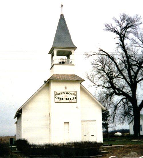 green mound, trenton, iowa, church building, cemetery