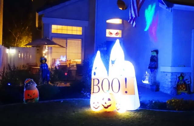 halloween decorations, holiday lights, ghosts