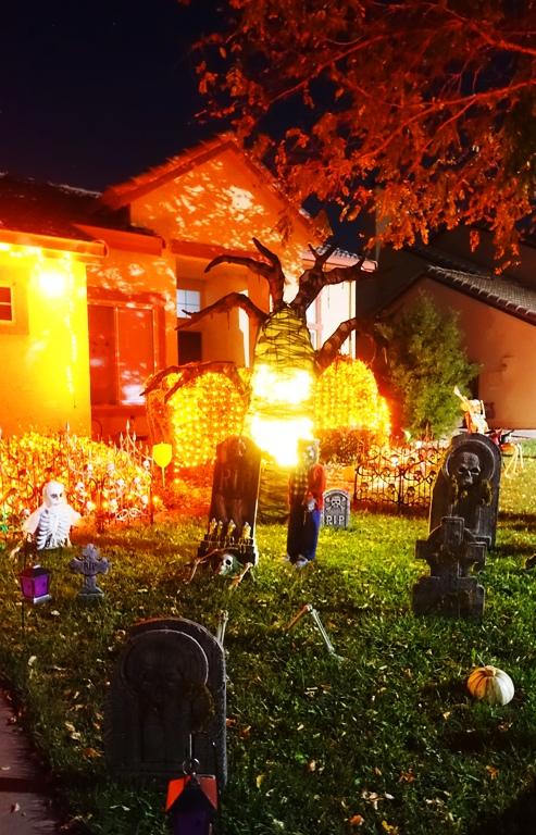 halloween display, grave stones, orange, lights