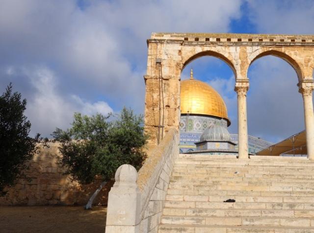 Temple Mount, dome of the rock, platform steps