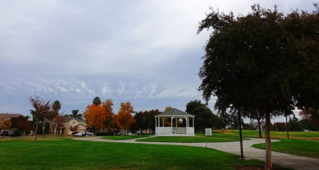 park, gazebo, autumn, fall, clouds, rain