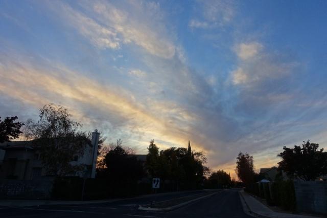 cloudy sky, sunset, park