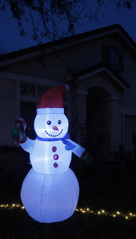 christmas dispay, decorations down, blow up decorations, snow man