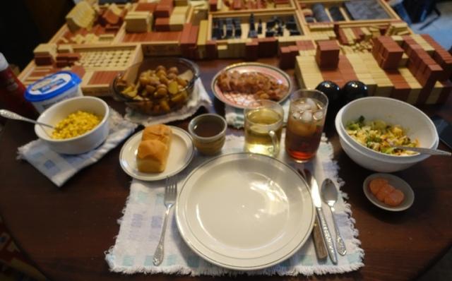 Christmas lunch, pork loin, potatoes, salad, tea, bread, corn