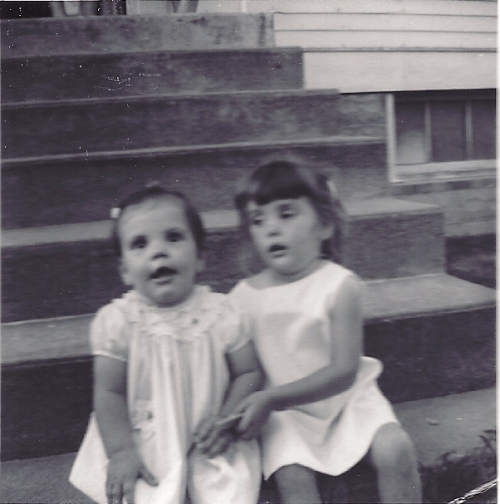 Sister and firend, Frytown Iowa, Church steps