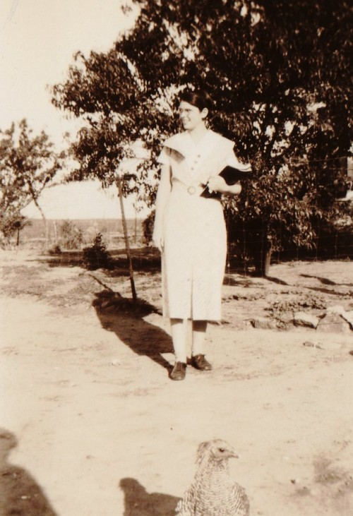 chicken, grandma, teenager, barnyard, old-time photography