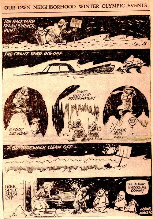 Frank Andrea Miller, Editorial Cartoon, Des Moines Register, Iowa, Winter, Blizzard
