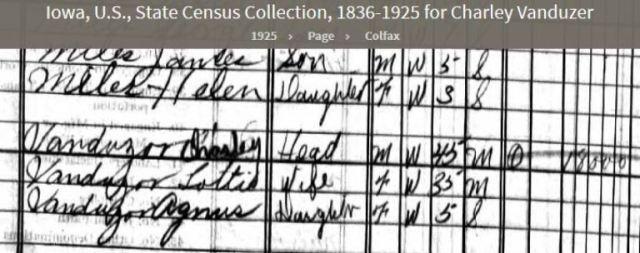 iowa census 1925, colfax twp, Page County