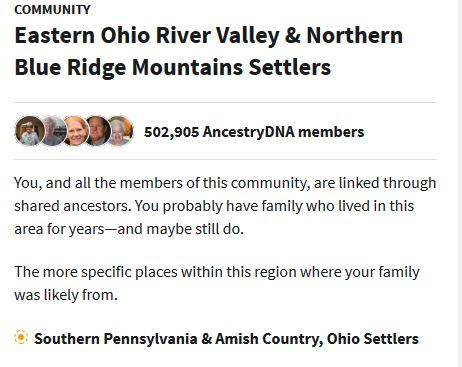 Ancestry communities, dna, results, amish, Iowa