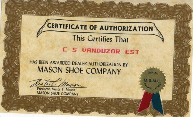 Mason shoe, dealer, van duzor