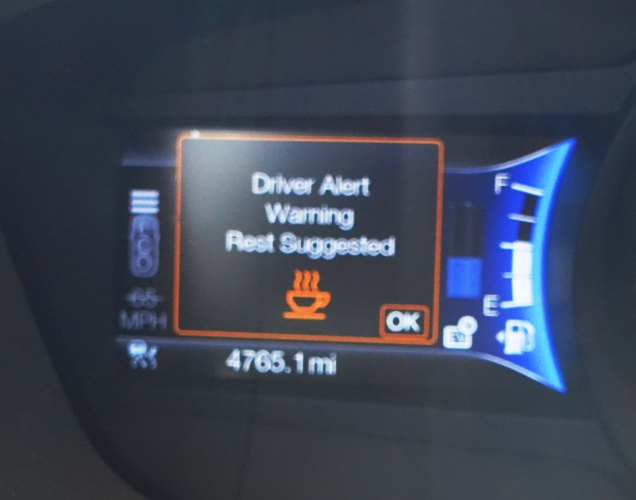 Ford fusion, bluey, rest warning