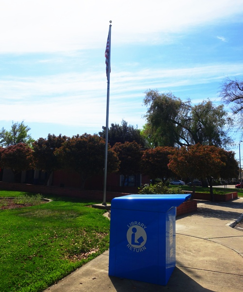 tracy public library, flag, book drop