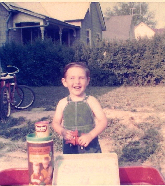 birthday cake, lincoln logs, wagon, play dough, overalls