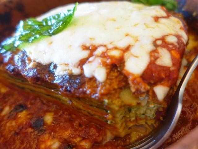 almond wood bbg lasagne, pulled pork, italian food